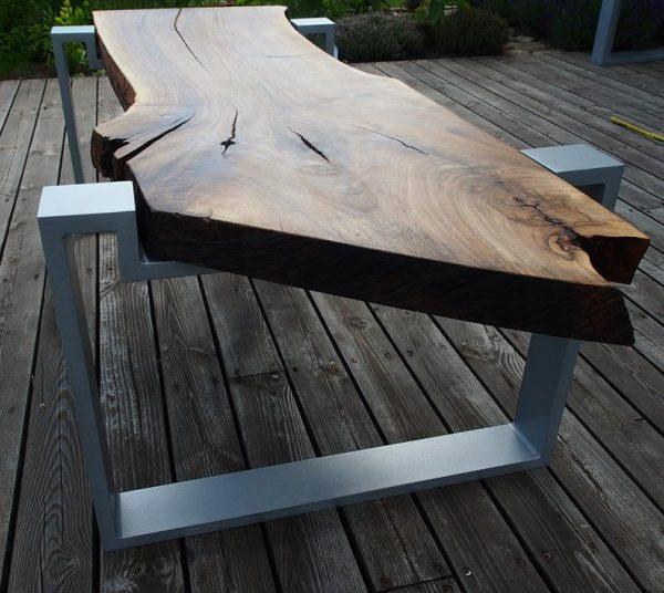 Blat premium - stol orzech naturalny i aluminium