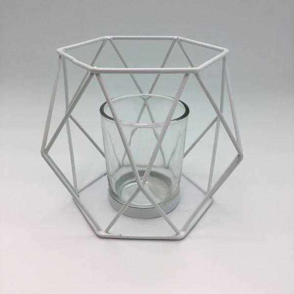 biały świecznik metalowy do ogrodu dom lampka