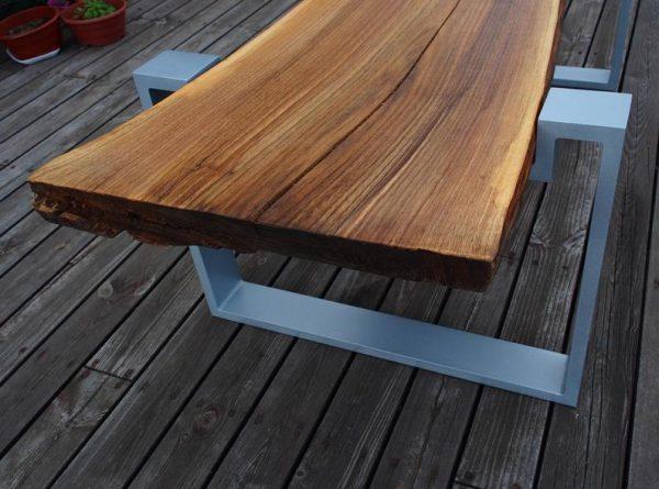 ekskluzywny elegancki stol lawa orzech plus aluminium