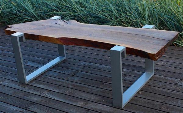 ekskluzywny stol - blat orzech wloski olejowany z alu nogami w stylu loft