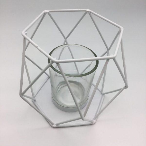 geometryczna biała lampka świecznik