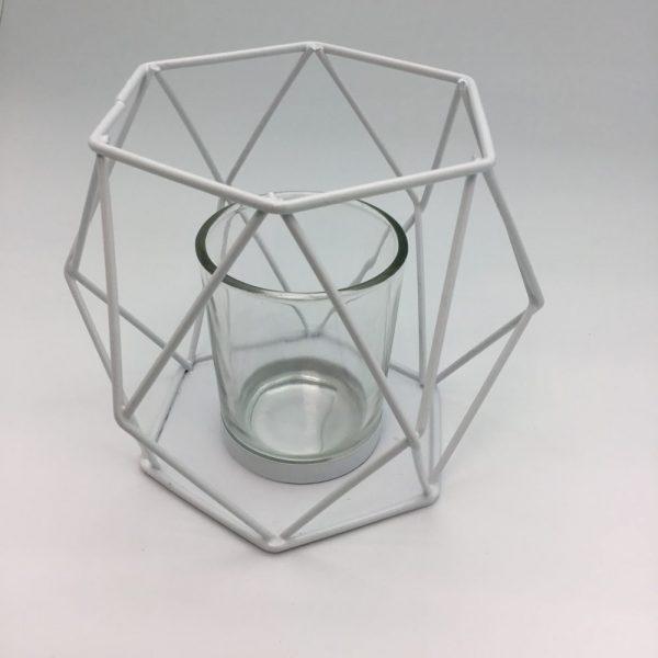 geometryczny świecznik do domu ogrodu biały