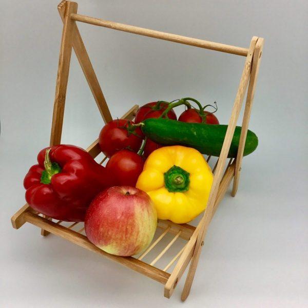 stojak na owoce drewniany naturalny kolor