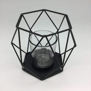 stylowy czarny świecznik wzór geometryczny lampion